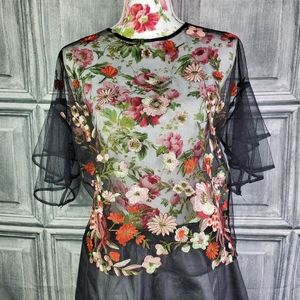 Haute Monde mesh embroidered top (XL)
